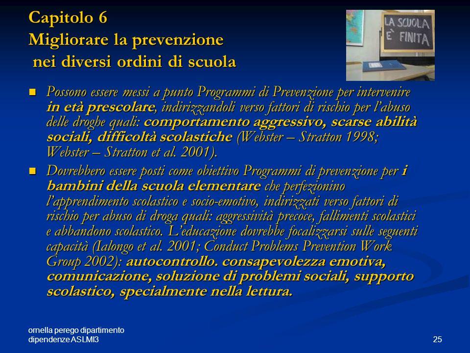 ornella perego dipartimento dipendenze ASLMI3 25 Capitolo 6 Migliorare la prevenzione nei diversi ordini di scuola Possono essere messi a punto Progra