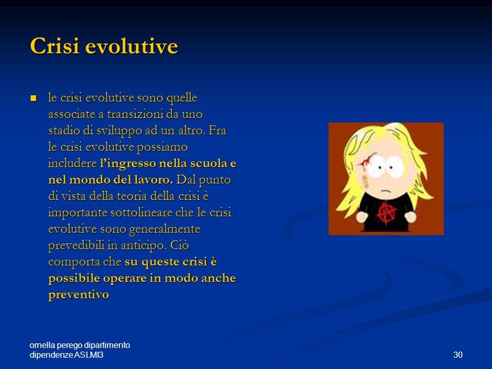 ornella perego dipartimento dipendenze ASLMI3 30 Crisi evolutive le crisi evolutive sono quelle associate a transizioni da uno stadio di sviluppo ad u