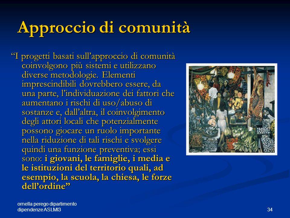 ornella perego dipartimento dipendenze ASLMI3 34 Approccio di comunità I progetti basati sullapproccio di comunità coinvolgono più sistemi e utilizzan