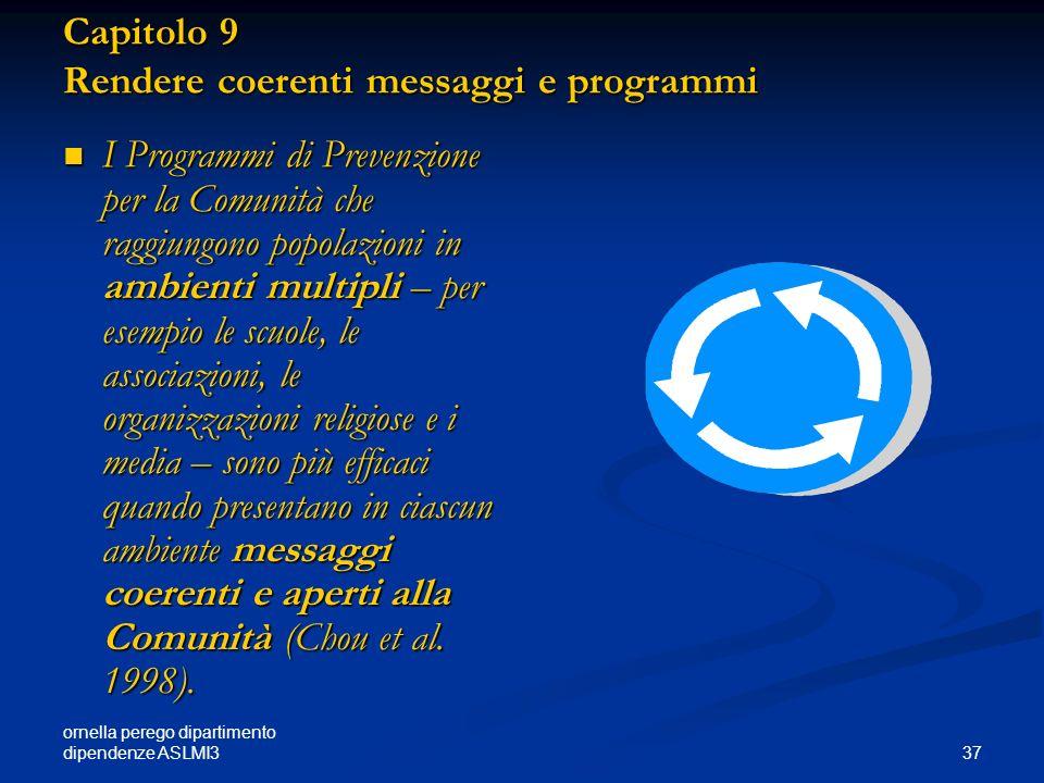 ornella perego dipartimento dipendenze ASLMI3 37 Capitolo 9 Rendere coerenti messaggi e programmi I Programmi di Prevenzione per la Comunità che raggi