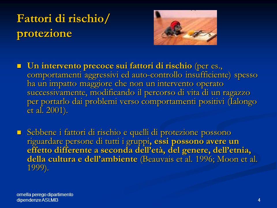 ornella perego dipartimento dipendenze ASLMI3 4 Fattori di rischio/ protezione Un intervento precoce sui fattori di rischio (per es., comportamenti ag