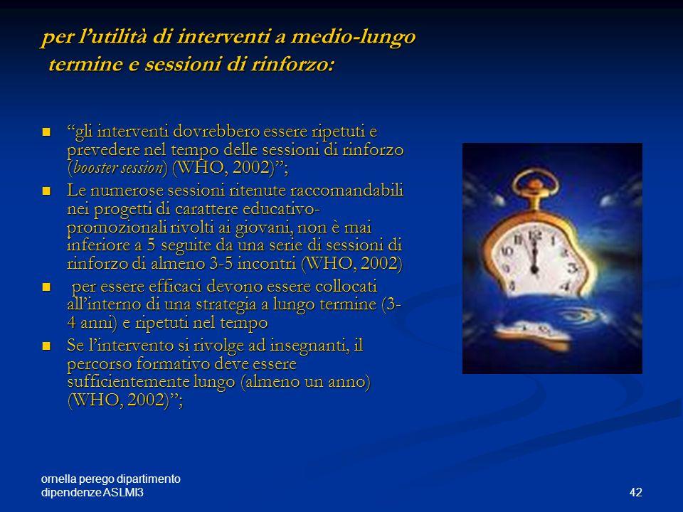 ornella perego dipartimento dipendenze ASLMI3 42 per lutilità di interventi a medio-lungo termine e sessioni di rinforzo: gli interventi dovrebbero es