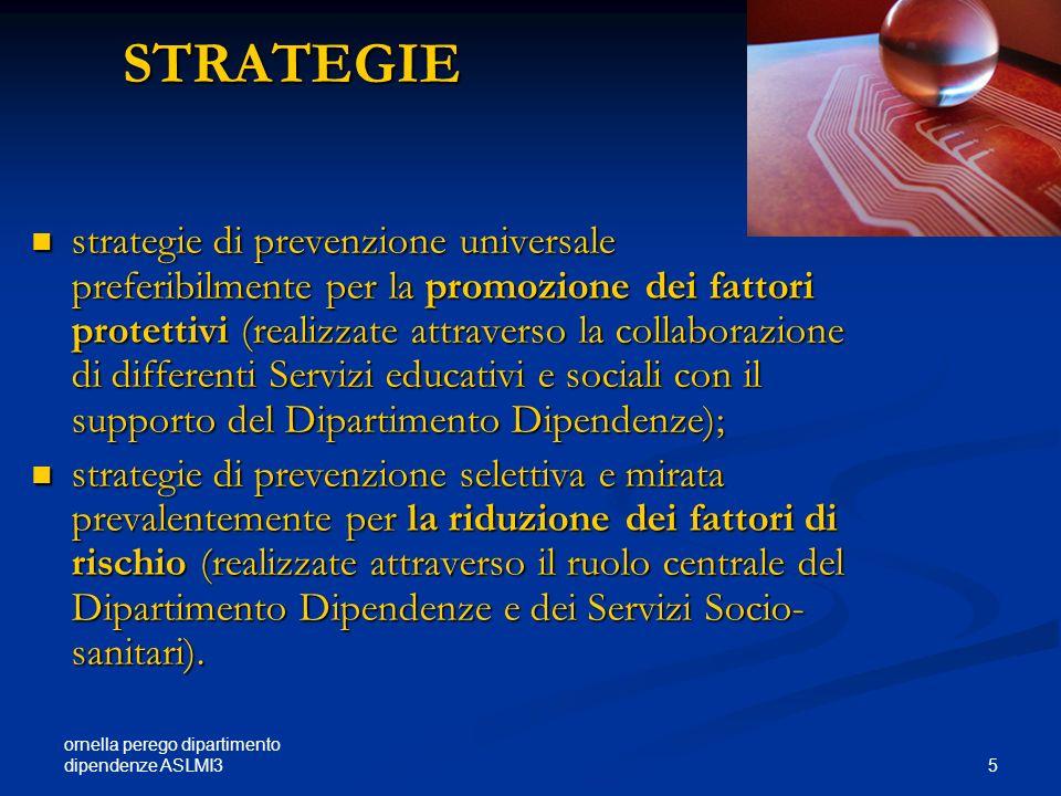 ornella perego dipartimento dipendenze ASLMI3 5 STRATEGIE STRATEGIE strategie di prevenzione universale preferibilmente per la promozione dei fattori