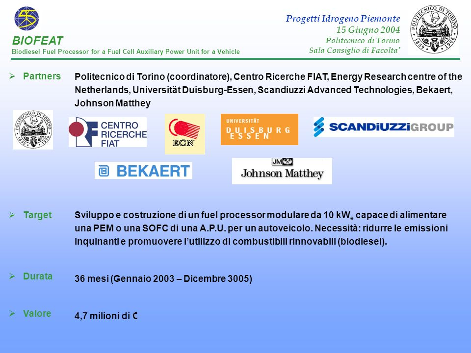 Partners Target Durata Valore Politecnico di Torino (coordinatore), Centro Ricerche FIAT, Energy Research centre of the Netherlands, Universität Duisb