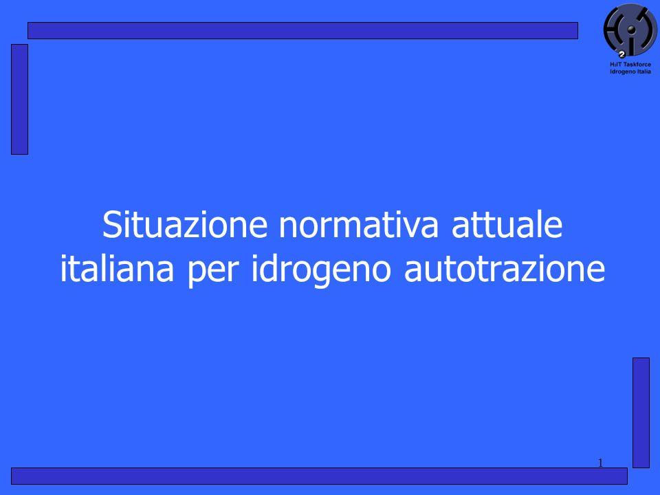 1 Situazione normativa attuale italiana per idrogeno autotrazione