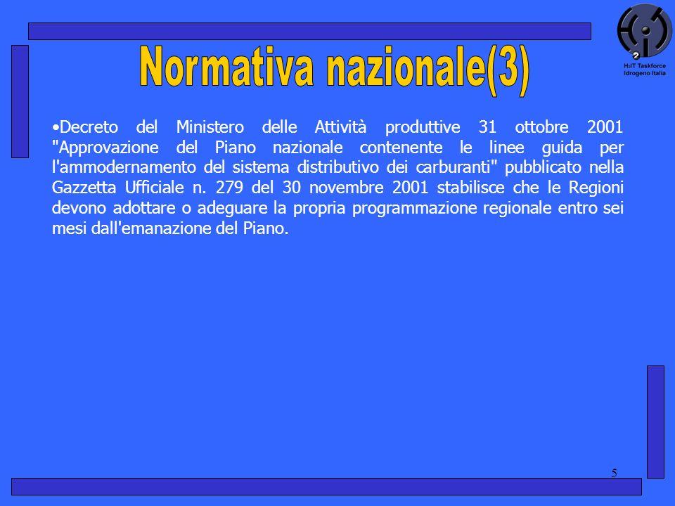 5 Decreto del Ministero delle Attività produttive 31 ottobre 2001