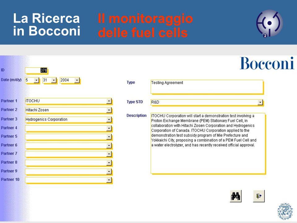 11 La Ricerca in Bocconi Il monitoraggio delle fuel cells