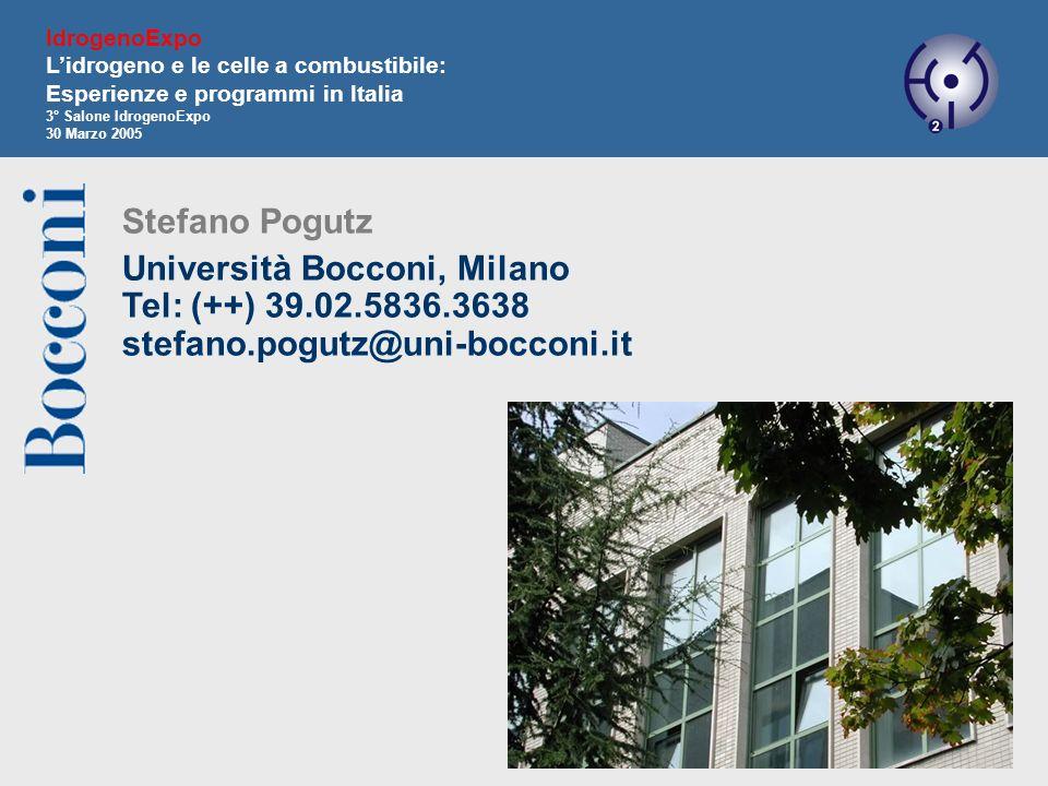 17 Stefano Pogutz Università Bocconi, Milano Tel: (++) 39.02.5836.3638 stefano.pogutz@uni-bocconi.it IdrogenoExpo Lidrogeno e le celle a combustibile: