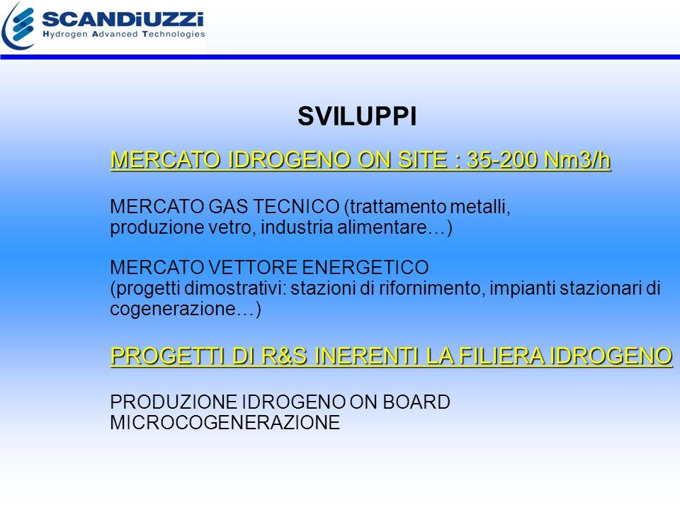 MERCATO IDROGENO ON SITE : 35-200 Nm3/h PROGETTI DI R&S INERENTI LA FILIERA IDROGENO MERCATO IDROGENO ON SITE : 35-200 Nm3/h MERCATO GAS TECNICO (trattamento metalli, produzione vetro, industria alimentare…) MERCATO VETTORE ENERGETICO (progetti dimostrativi: stazioni di rifornimento, impianti stazionari di cogenerazione…) PROGETTI DI R&S INERENTI LA FILIERA IDROGENO PRODUZIONE IDROGENO ON BOARD MICROCOGENERAZIONE SVILUPPI