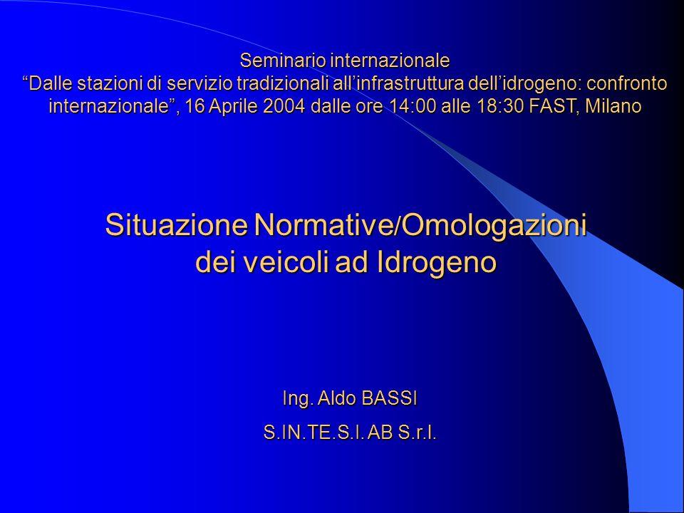 Situazione Normative / Omologazioni dei veicoli ad Idrogeno Ing. Aldo BASSI S.IN.TE.S.I. AB S.r.l. Seminario internazionale Dalle stazioni di servizio