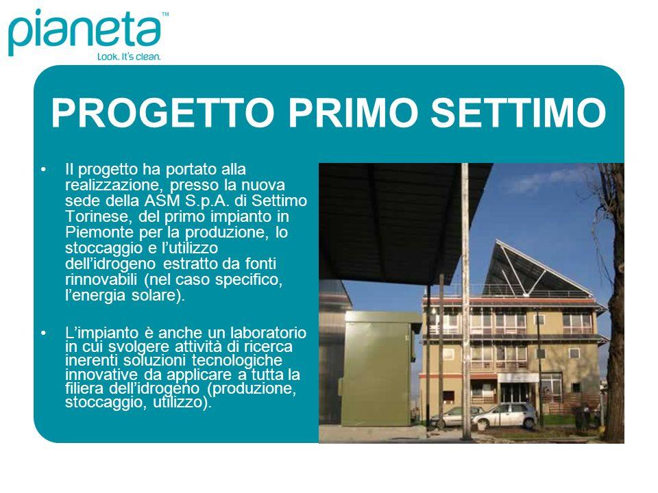PROGETTO PRIMO SETTIMO Il progetto ha portato alla realizzazione, presso la nuova sede della ASM S.p.A. di Settimo Torinese, del primo impianto in Pie