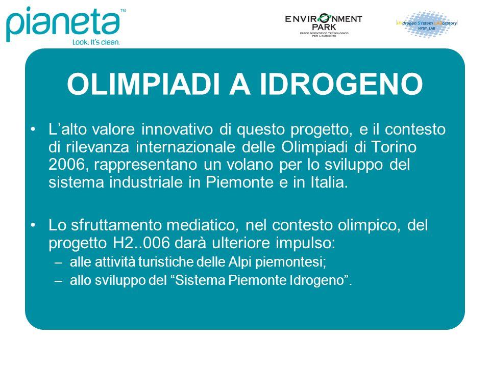 OLIMPIADI A IDROGENO Lalto valore innovativo di questo progetto, e il contesto di rilevanza internazionale delle Olimpiadi di Torino 2006, rappresentano un volano per lo sviluppo del sistema industriale in Piemonte e in Italia.