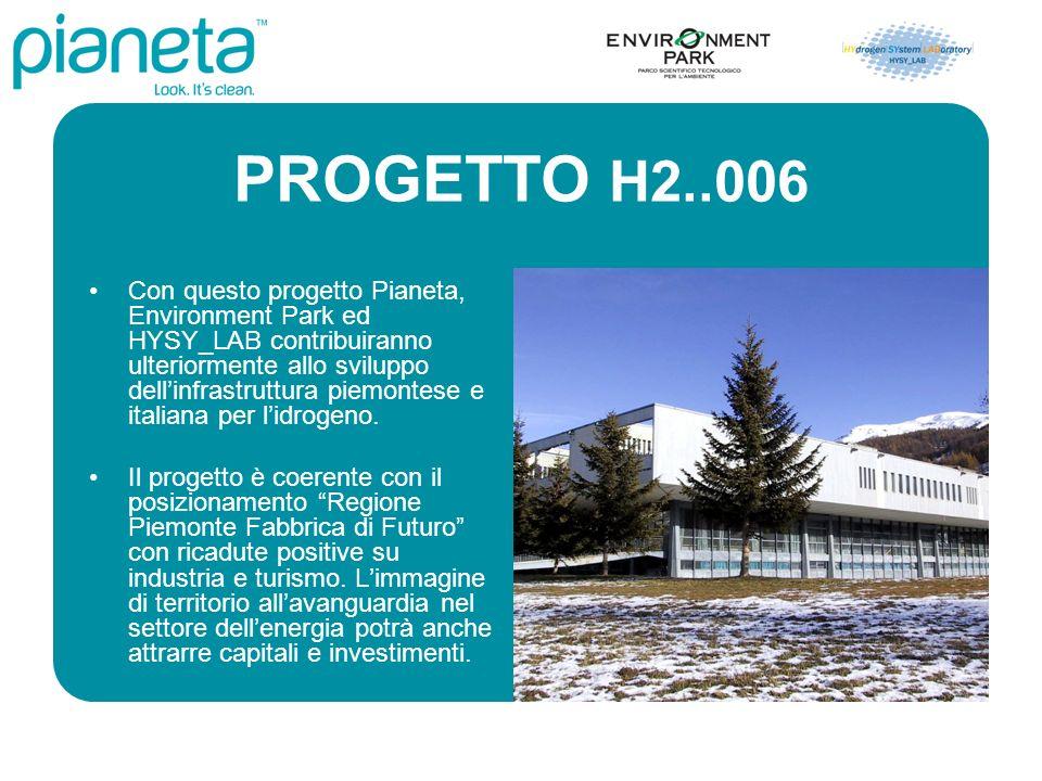 PROGETTO H2..006 Con questo progetto Pianeta, Environment Park ed HYSY_LAB contribuiranno ulteriormente allo sviluppo dellinfrastruttura piemontese e