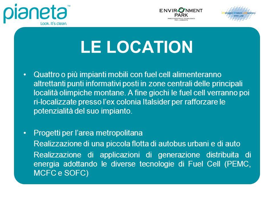LE LOCATION Quattro o più impianti mobili con fuel cell alimenteranno altrettanti punti informativi posti in zone centrali delle principali località olimpiche montane.