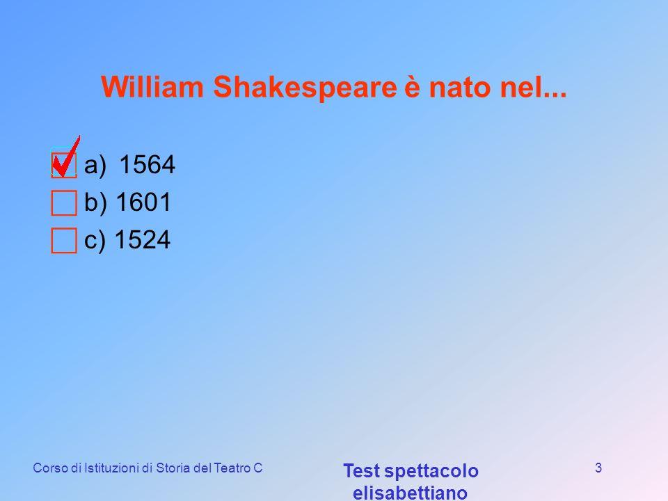 Corso di Istituzioni di Storia del Teatro C Test spettacolo elisabettiano 2 Gli University Wits erano... a)Un gruppo di autori apparsi intorno al 1580