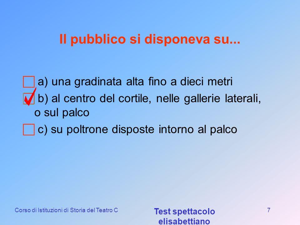 Corso di Istituzioni di Storia del Teatro C Test spettacolo elisabettiano 6 La forma del teatro elisabettiano era... a) Semicircolare ad arena b) Rett