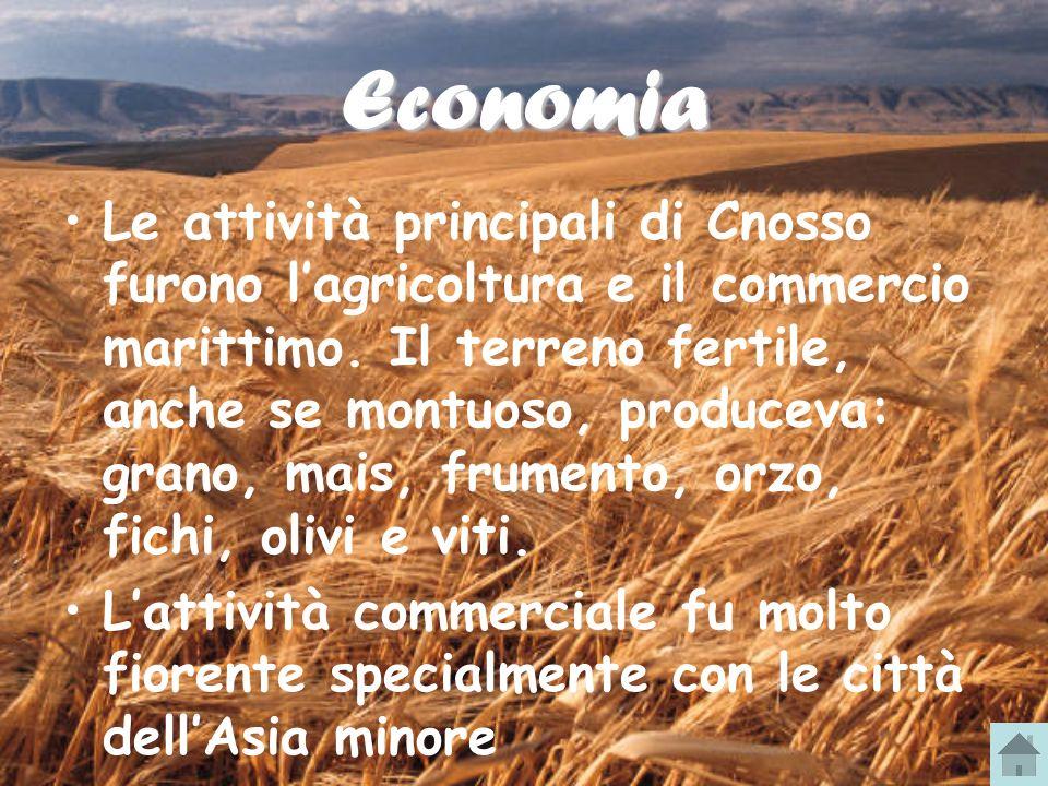 Economia Le attività principali di Cnosso furono lagricoltura e il commercio marittimo. Il terreno fertile, anche se montuoso, produceva: grano, mais,