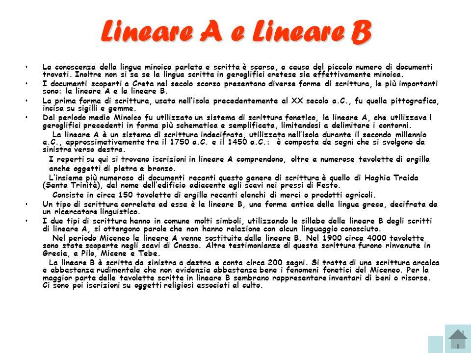 Lineare A e Lineare B La conoscenza della lingua minoica parlata e scritta è scarsa, a causa del piccolo numero di documenti trovati. Inoltre non si s