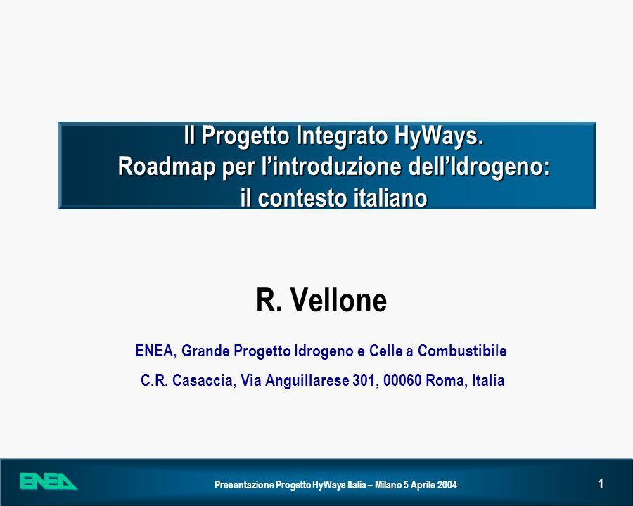 Presentazione Progetto HyWays Italia – Milano 5 Aprile 2004 12 Il Progetto Integrato HyWays (3) La proposta HyWays garantirà anche alla Commissione Europea una piena rappresentazione degli scenari a livello di singole regioni/nazioni e di intera Europa, in modo da acquisire gli elementi di conoscenza necessari garantire un pieno sostegno alle azioni di R&D sullIdrogeno e favorire la collaborazione internazionale con altre nazioni, creando le premesse per ampliare i mercati di interesse per lIdrogeno.