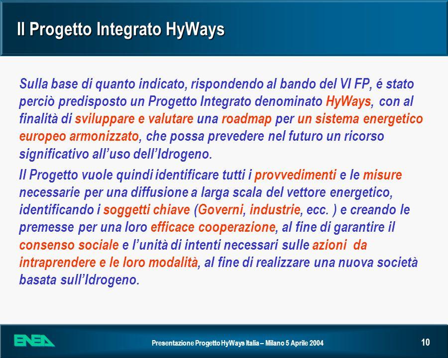 Presentazione Progetto HyWays Italia – Milano 5 Aprile 2004 10 Il Progetto Integrato HyWays Sulla base di quanto indicato, rispondendo al bando del VI