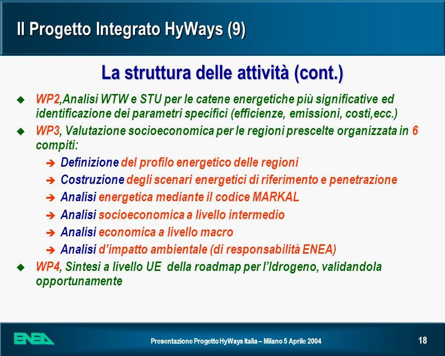 Presentazione Progetto HyWays Italia – Milano 5 Aprile 2004 18 Il Progetto Integrato HyWays (9) u WP2,Analisi WTW e STU per le catene energetiche più