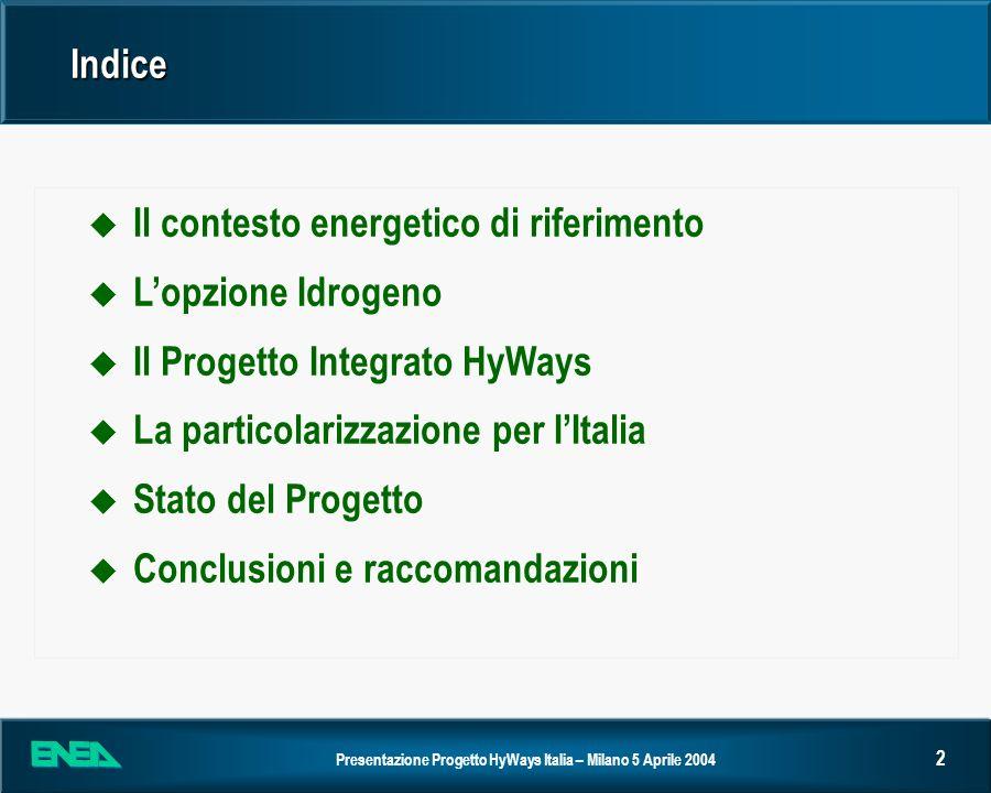 Presentazione Progetto HyWays Italia – Milano 5 Aprile 2004 3 Il contesto energetico di riferimento u Il Libro Verde della Commissione Europea individua come problemi fondamentali da risolvere per uno sviluppo energetico sostenibile negli Stati Membri: Cambiamenti climatici Cambiamenti climatici Sicurezza degli approvvigionamenti energetici Sicurezza degli approvvigionamenti energetici u Il raggiungimento dellobiettivo del protocollo di Kyoto per lUnione Europea (8% di riduzione della CO 2 per lintervallo 2008- 2012 rispetto al 1990) non è certo, anche per la defezione di Stati importanti; comunque lobiettivo è insufficiente a fermare il riscaldamento del pianeta e può solo ritardarlo