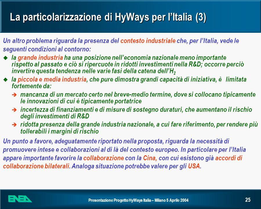 Presentazione Progetto HyWays Italia – Milano 5 Aprile 2004 25 La particolarizzazione di HyWays per IItalia (3) Un altro problema riguarda la presenza