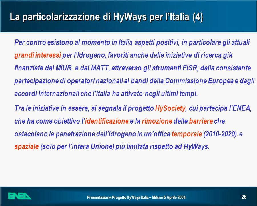 Presentazione Progetto HyWays Italia – Milano 5 Aprile 2004 26 La particolarizzazione di HyWays per IItalia (4) Per contro esistono al momento in Ital