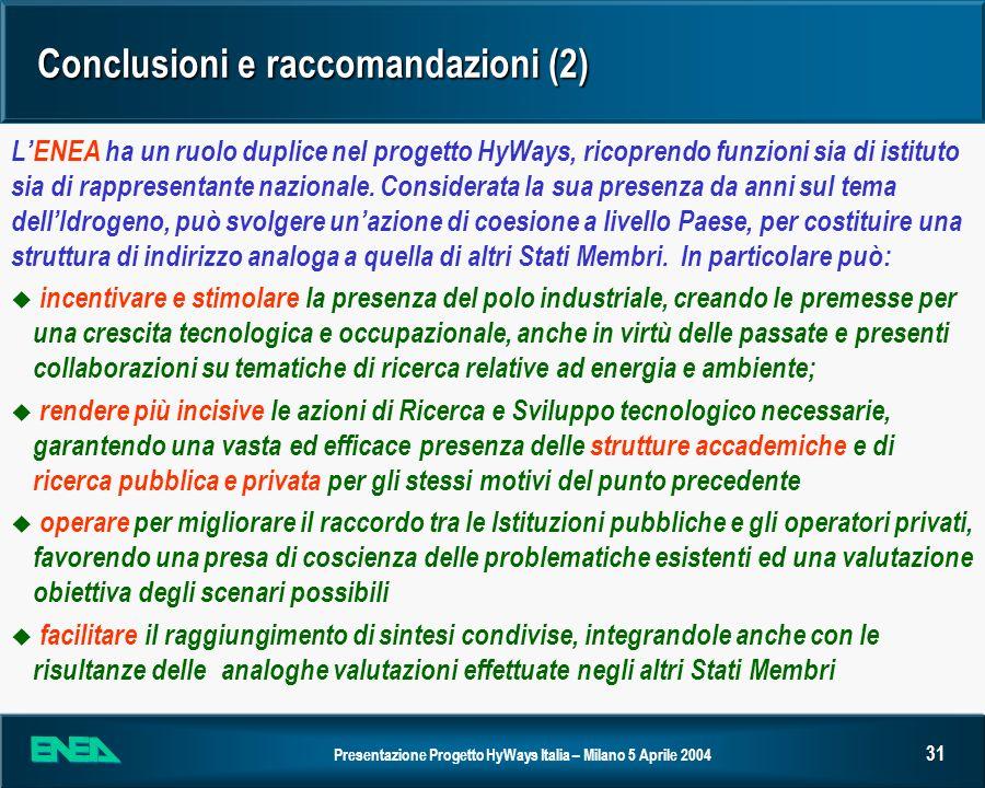 Presentazione Progetto HyWays Italia – Milano 5 Aprile 2004 31 Conclusioni e raccomandazioni (2) LENEA ha un ruolo duplice nel progetto HyWays, ricopr