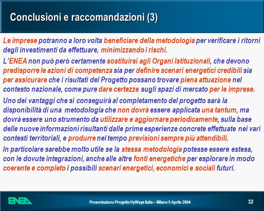 Presentazione Progetto HyWays Italia – Milano 5 Aprile 2004 32 Conclusioni e raccomandazioni (3) Le imprese potranno a loro volta beneficiare della me