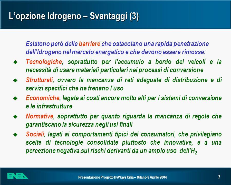 Presentazione Progetto HyWays Italia – Milano 5 Aprile 2004 8 Lopzione Idrogeno – Le azioni internazionali (5) Per permettere il decollo dellopzione Idrogeno sono in corso azioni nei vari Paesi il cui obiettivo è favorire il decollo delle tecnologie u Negli Stati Uniti il Department of Energy investirà 1.7Miliardi di $ nel periodo 2003-2007 in R&D di veicoli a idrogeno e delle relative tecnologie per le infrastrutture u In Giappone le attività di R&D sono svolte nellambito del Programma WE-NET sponsorizzato dal METI (Ministero Economia, Industria e Commercio) in due fasi, con la seconda che è terminata nel 2002, anticipando la naturale scadenza del 2003 u A livello nazionale è stato finanziato dal MIUR e dal ministero per lAmbiente il Programma di Ricerca sullIdrogeno e le Celle a Combustibile per un importo pari a circa 90 M; le proposte di ricerca sono in fase di valutazione u La Commissione Europea ha stanziato 198 Milioni di nel primo bando di ricerca relativo ai Sistemi Energetici Sostenibili, in cui un ruolo importante è previsto per lIdrogeno e le Celle a Combustibile