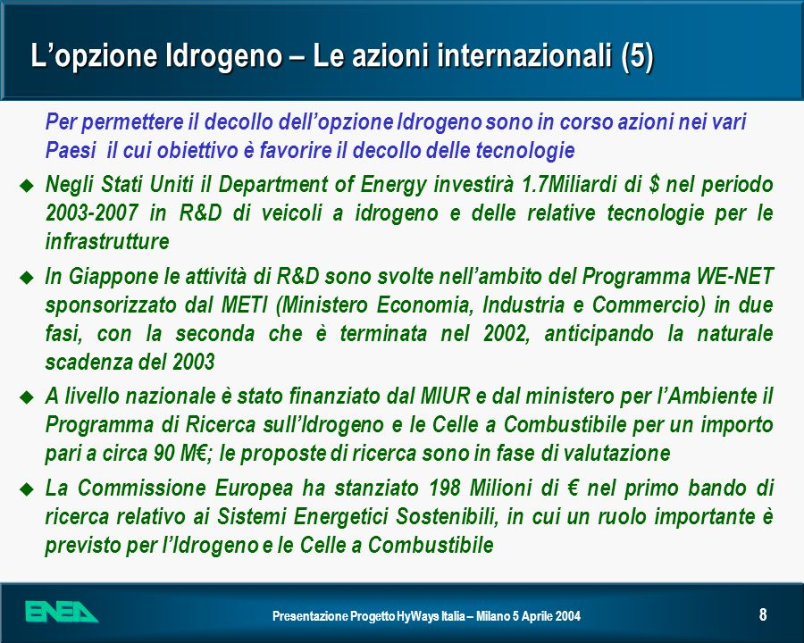 Presentazione Progetto HyWays Italia – Milano 5 Aprile 2004 8 Lopzione Idrogeno – Le azioni internazionali (5) Per permettere il decollo dellopzione I