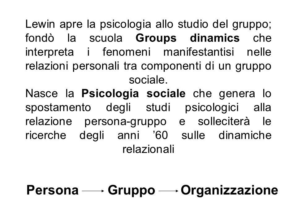 Lewin apre la psicologia allo studio del gruppo; fondò la scuola Groups dinamics che interpreta i fenomeni manifestantisi nelle relazioni personali tr