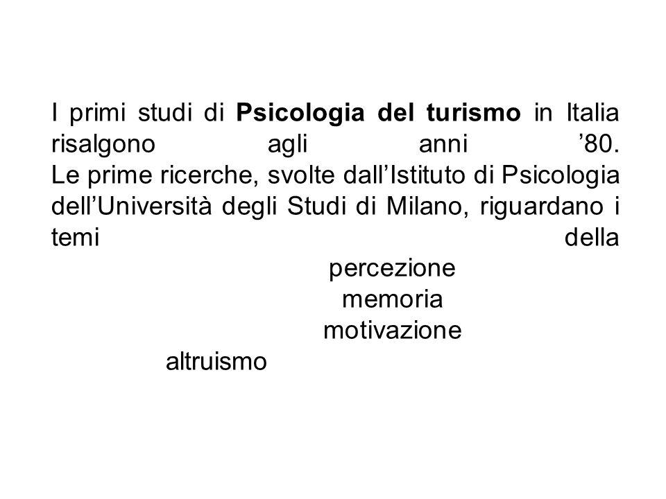 I primi studi di Psicologia del turismo in Italia risalgono agli anni 80. Le prime ricerche, svolte dallIstituto di Psicologia dellUniversità degli St