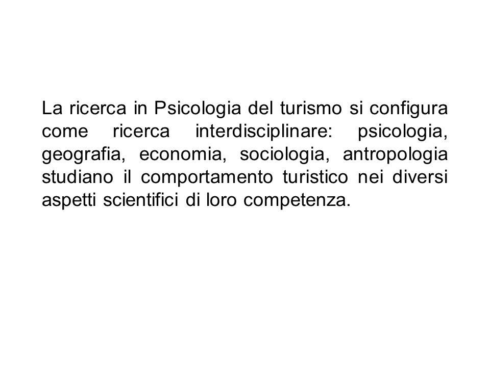 La ricerca in Psicologia del turismo si configura come ricerca interdisciplinare: psicologia, geografia, economia, sociologia, antropologia studiano i