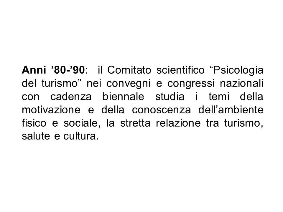 Anni 80-90: il Comitato scientifico Psicologia del turismo nei convegni e congressi nazionali con cadenza biennale studia i temi della motivazione e d