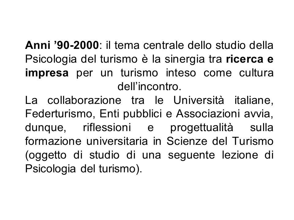 Anni 90-2000: il tema centrale dello studio della Psicologia del turismo è la sinergia tra ricerca e impresa per un turismo inteso come cultura dellin