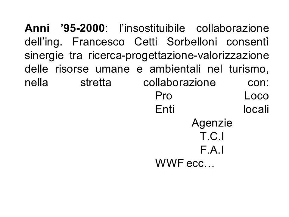 Anni 95-2000: linsostituibile collaborazione delling. Francesco Cetti Sorbelloni consentì sinergie tra ricerca-progettazione-valorizzazione delle riso