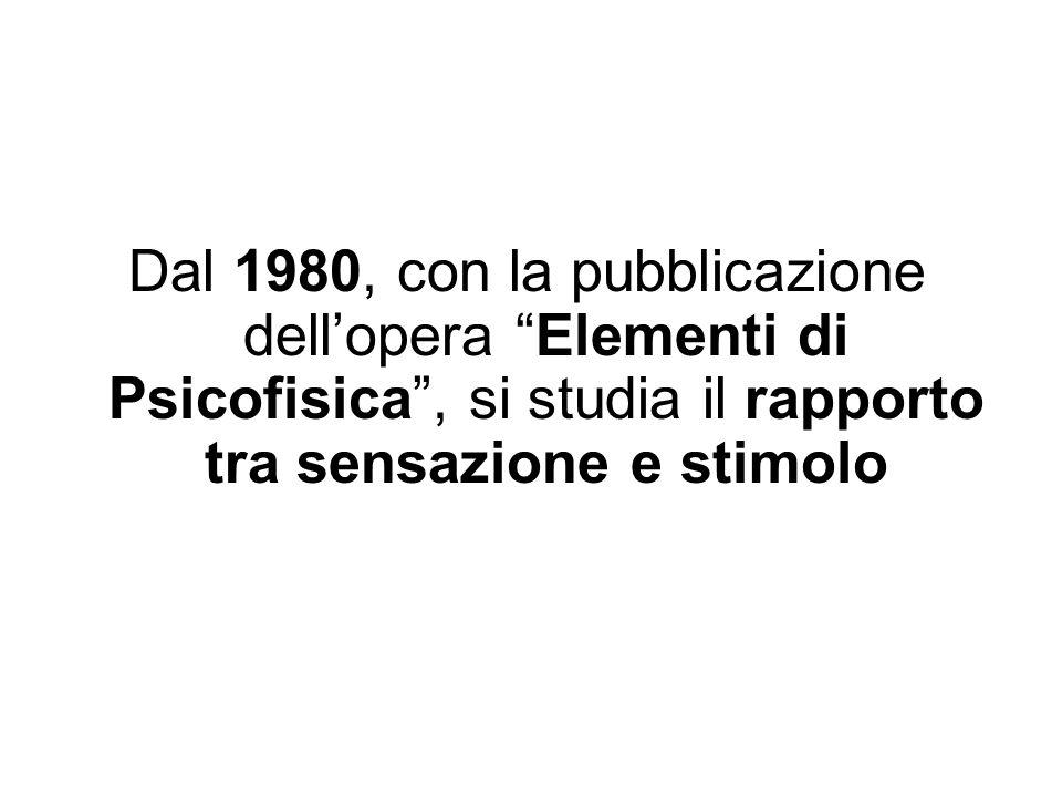 Dal 1980, con la pubblicazione dellopera Elementi di Psicofisica, si studia il rapporto tra sensazione e stimolo