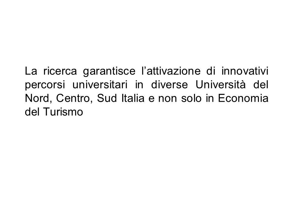 La ricerca garantisce lattivazione di innovativi percorsi universitari in diverse Università del Nord, Centro, Sud Italia e non solo in Economia del T