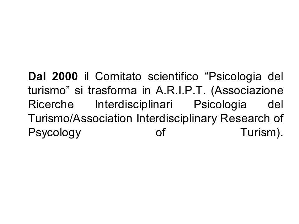 Dal 2000 il Comitato scientifico Psicologia del turismo si trasforma in A.R.I.P.T. (Associazione Ricerche Interdisciplinari Psicologia del Turismo/Ass