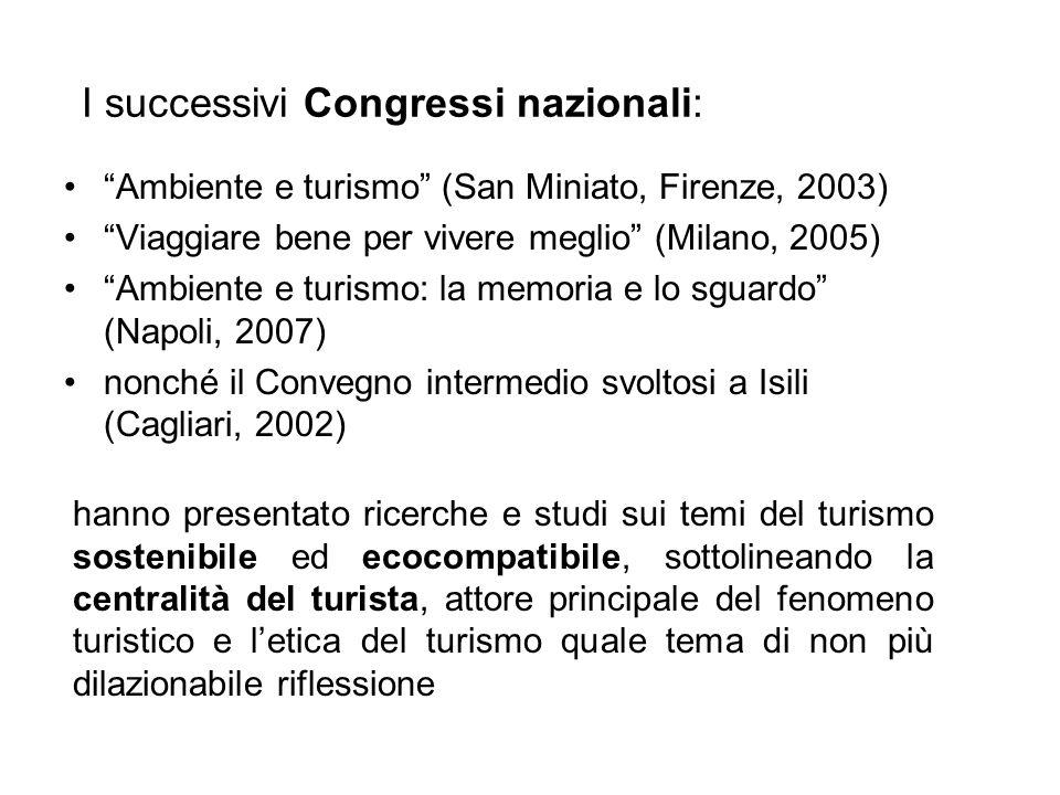 I successivi Congressi nazionali: Ambiente e turismo (San Miniato, Firenze, 2003) Viaggiare bene per vivere meglio (Milano, 2005) Ambiente e turismo: