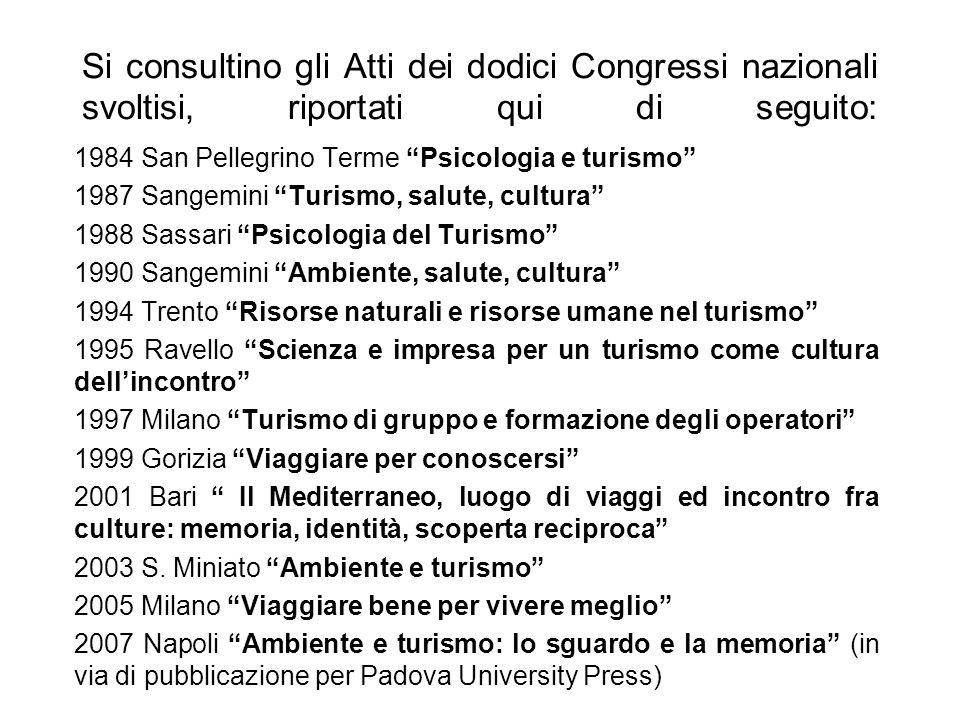 Si consultino gli Atti dei dodici Congressi nazionali svoltisi, riportati qui di seguito: 1984 San Pellegrino Terme Psicologia e turismo 1987 Sangemin