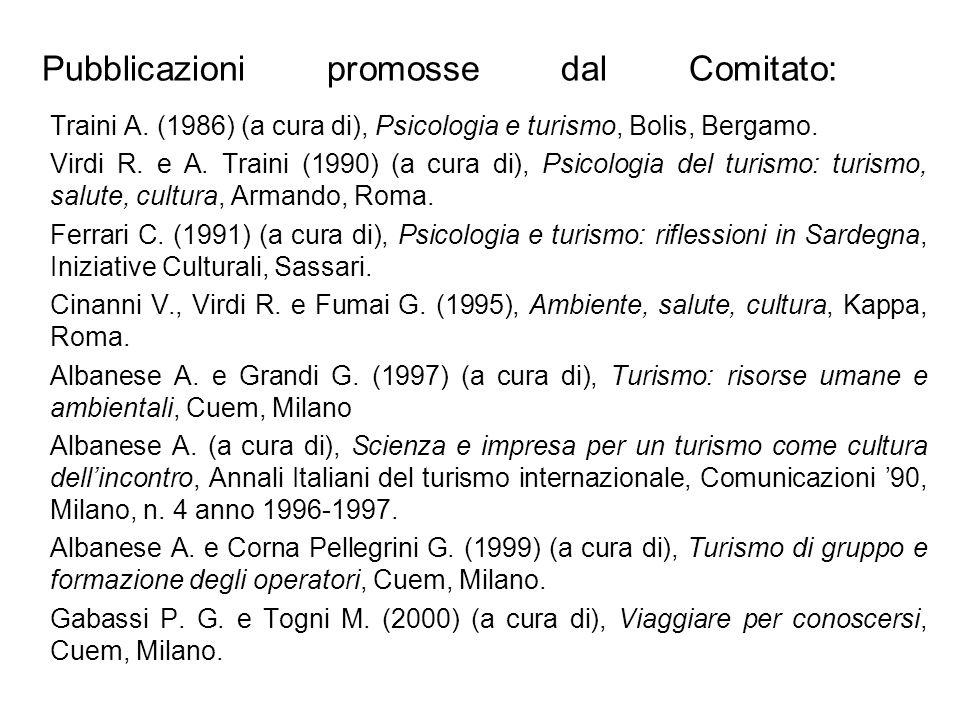 Pubblicazioni promosse dal Comitato: Traini A. (1986) (a cura di), Psicologia e turismo, Bolis, Bergamo. Virdi R. e A. Traini (1990) (a cura di), Psic