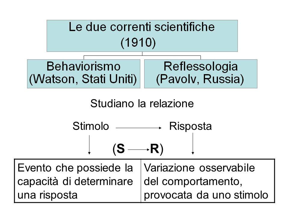 Studiano la relazione Stimolo Risposta (S R) Evento che possiede la capacità di determinare una risposta Variazione osservabile del comportamento, pro