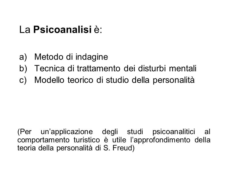 La Psicoanalisi è: a)Metodo di indagine b)Tecnica di trattamento dei disturbi mentali c)Modello teorico di studio della personalità (Per unapplicazion