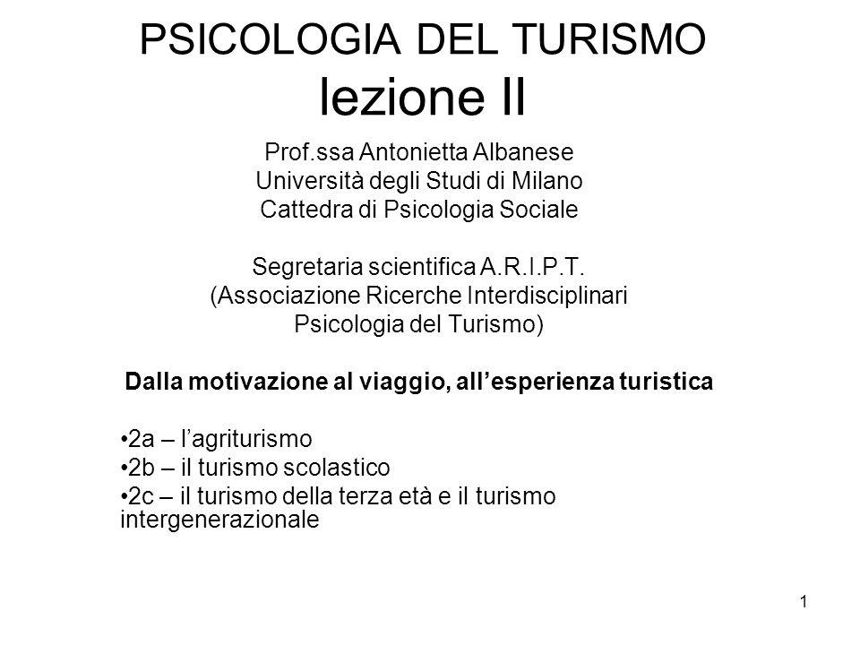 1 PSICOLOGIA DEL TURISMO lezione II Prof.ssa Antonietta Albanese Università degli Studi di Milano Cattedra di Psicologia Sociale Segretaria scientific