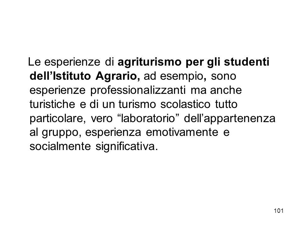 101 Le esperienze di agriturismo per gli studenti dellIstituto Agrario, ad esempio, sono esperienze professionalizzanti ma anche turistiche e di un tu