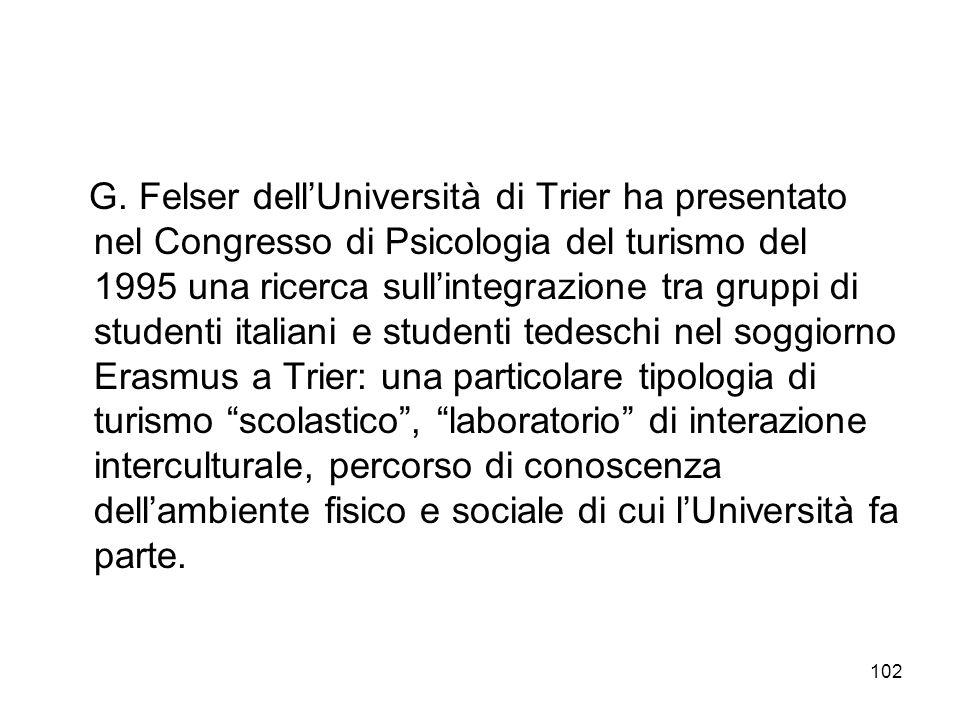 102 G. Felser dellUniversità di Trier ha presentato nel Congresso di Psicologia del turismo del 1995 una ricerca sullintegrazione tra gruppi di studen