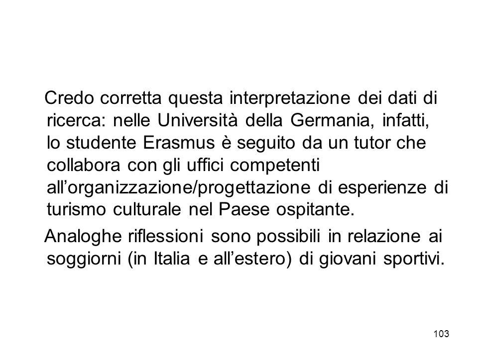 103 Credo corretta questa interpretazione dei dati di ricerca: nelle Università della Germania, infatti, lo studente Erasmus è seguito da un tutor che